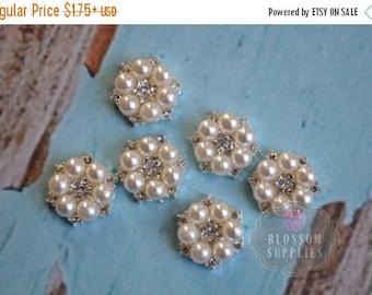 ON SALE FLATBACK 12mm Mini Rhinestone Pearl Metal Buttons Crystal Clear - Flower Centers - Wedding Bridal Prom - Mini Cluster Pearls Ivory