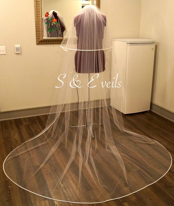 2-Tier CATHEDRAL Cascading Veil with Satin ribbon/Rhinestones  wedding veil, white, diamond white, ivory, light ivory color, accessories