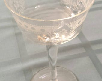 Vintage Irish Crystal Small Wine Cordial Glass Frosted Dot Laurel Pattern