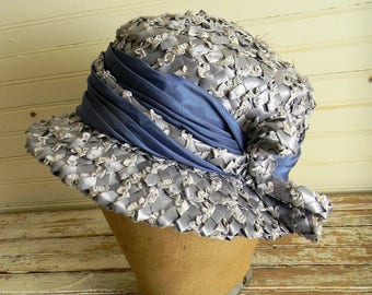 Womens Vintage Hat, 1960s Woven Raffia Hat, Blue Woven Raffia Dress Hat, Easter Hat, Spring Hat, Ladies 1960s Formal Hat, Spring Wedding Hat
