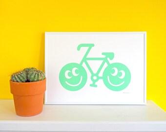 Happy Bike Mint Screen Print, Bicycle Print, Bike Art, Cycling Poster, Mint Print, Cute Happy Art, Fun Nursery Art, Cyclist Print, Bike Art