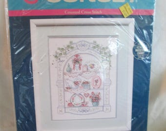"""Vintage  Sunset counted cross stitch kit """" Victorian Shelf"""" opened and complete 1991"""