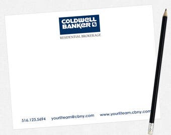 Coldwell Banker real estate flat notecards - Coldwell banker stationery - thick, matte, full color both sides - free UPS ground shipping