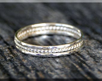 Set of 3 Ultra Thin Hammered Twist Sterling Silver Stacking Rings, Dainty Sterling Ring, Tiny Sterling Stacking Ring, Thin Stacking ring