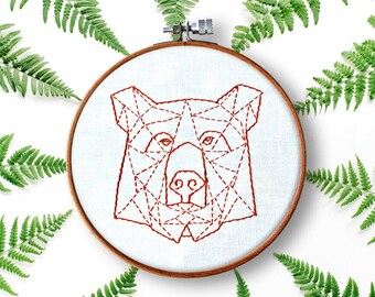 contemporary hand embroidery pattern, beginner embroidery, bear embroidery pattern pdf, modern embroidery patterns, geometric bear, diy hoop