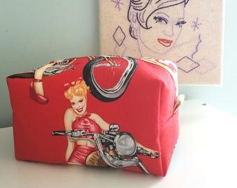 Red Biker Babe Cosmetic Bag - Large Makeup Bag - Waterproof Makeup Bag - Mens Toiletry Bag