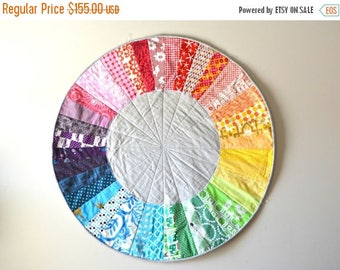 FLASH QUILT SALE Rainbow Color Wheel Quilt - Baby Play Mat - Circle Rug -  Nursery Room Decor - Color Wheel Wall Hanging