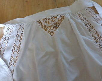Apron, Linen and Lace French Vintage, Maid  1940's