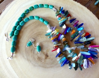 23 Inch Double Strand Stick Bead and Green Turquoise Necklace with Earrings