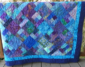 84 x 87 Inches Twin or Full Size Batik Scrappy Hand Made Quilt