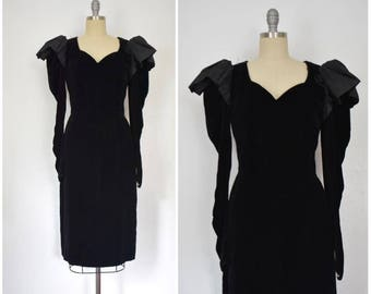 Vintage 1980s LANVIN Velvet and Taffeta Dress