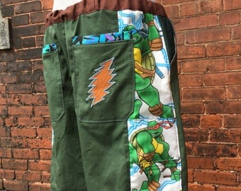 mens patchwork retro CUSTOM Dude Shorts olive mario TMNT pokemon hippie patchwork six pocket 30 32 34 36 38 40 42 44