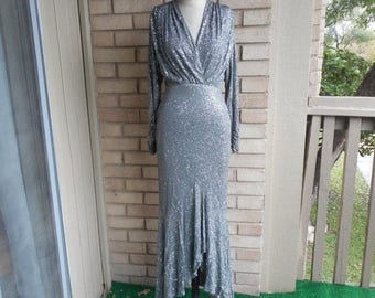 Vintage 70s Luis Estevez Couture Evening Gown Grey Silver Mermaid High Low Size Extra Small