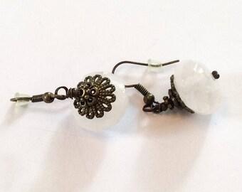 Rose Quartz Dangle Earrings, Vintage Jewelry SUMMER SALE