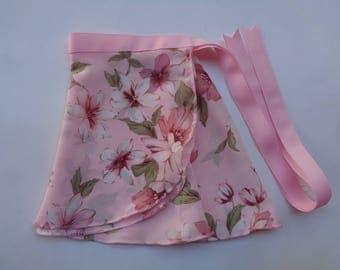 Toddler Floral Prints on Pink Skirt, Ballet Skirt, Ballet Wrap Skirt, Ballet, Fancy Dress Costume, Ballet Birthday Gift