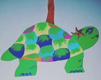 Kid's Room Decor! Turtle Wall Hang Hand Crafted, Hand Cut Wood, Painted, Pearl Eye; for beach home, nursery decor, kids room