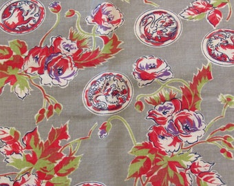 red and gray asian/floral print vintage FULL feedsack fabric