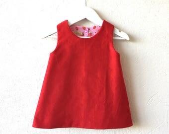 Baby girl reversible pinafore dress red corduroy dress