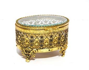 Vintage Beveled Glass Jewelry Casket Hollywood Regency Jewelry Box Gold Filigree Metalwork