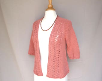 Open Front Cardigan, Womens Sweater, Elbow Sleeves, Drape Front, Lace Details, Size Small Medium, Coral Orange Pima Cotton Alpaca