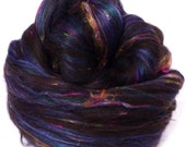 So Sari Blend - Black -  Black Shetland/ Sari Silk /Black Alpaca/ Silk/ Bamboo ( 25/25/25/15/10)  (2 oz. )