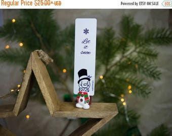 BACK TO SCHOOL 20% off // Snowman bookmark // Funny snowman unusual gift for winter holidays // Back to school gift for student, teacher //