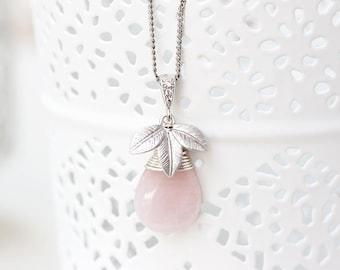Pink necklace, Rose teardrop necklace, Pink quartz necklace, Silver floral necklace, Silver leaves necklace, Elegant teardrop necklace 755