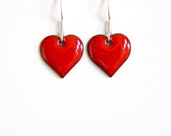 Red heart earrings - glossy red enamel earrings - bright red love heart shape earrings - gift for loved one - marriage proposal gift