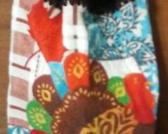 Crochet kitchen hand towel turkey thanksgiving fall