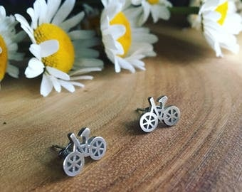 SLOW RIDE a pair of silver toned stainless steel bicycle bike earring studs