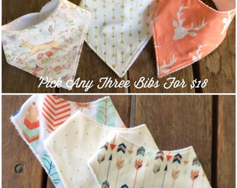 Bandana Bib, Girl Bandana bib, Set of Three Babdana Bibs