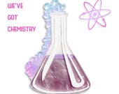 "Purple and Iridescent ""We've got Chemistry"" science experiement beaker test tube layered laser cut acrylic brooch"