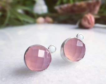 Rose Chalcedony & White Opal Sterling Silver Studs