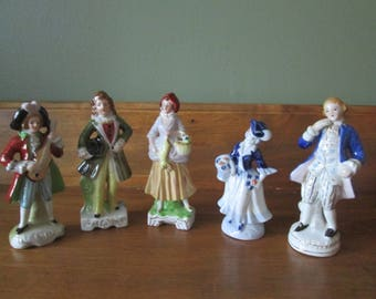 5 Hand Painted Figurines, Made in Japan, Could be used as Cake Toppers