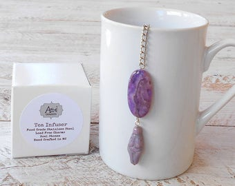 Tea Infuser, Goddess of Rebirth, Eostre, Fertility and New Beginnings, Purple Charoite Agate Gem Stone, Gift Boxed, Mother Earth, Nature