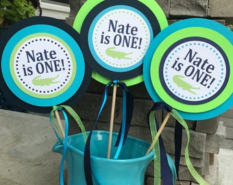 PREPPY ALLIGATOR Happy Birthday or Baby Shower Centerpiece Sticks {Set of 3} Lime Green Navy Blue- Party Packs Available