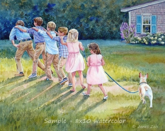 Watercolor commission, child painting, Custom painting of children from photo, Unique grandparent gift, Artwork by Janet Zeh Original Art