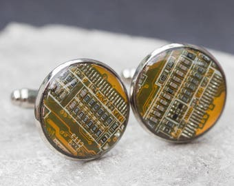 Sale Last one left - Circuit board Cufflinks with olive green circuit board in palladium plated