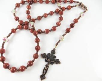 Traditional catholic rosary prayer beads with gold sandstone gemstones