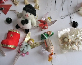 Vintage Miniature Ornaments Set of 46 Wired Beaded Felted Pipe Cleaner Angels Deer Nativity Santa