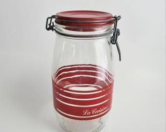 Vintage French Jar Typography Red Letters Stripes Glass Mason Jar