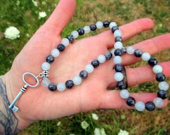 Gemstone Choker / Skeleton Key Necklace with Larvikite and Natural Aquamarine / Beaded Choker / Crystal Necklace