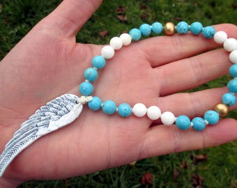 Angel Wing Prayer Beads / Mini Mala / Mini Rosary - guardian angel, archangel, Michael, Gabriel, Uriel, Raphael, Lucifer
