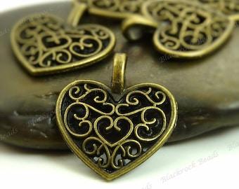 8 Heart Shaped Charms 18x15mm Antique Bronze Tone Metal - Filigree Heart Pendants - BP36