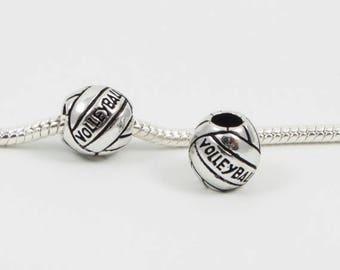 3 Beads - Sports Volleyball Ball Team School Silver European Bead Charm E0097