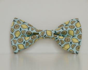 Lemon Summer Blue Yellow Dog Bow Tie Wedding Accessories Made to Order