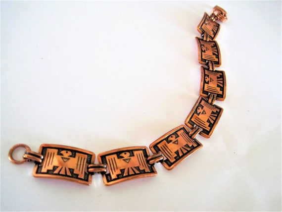 Copper Bracelet - Thunderbird Native American  -Copper Links - Mid Century Geometric -