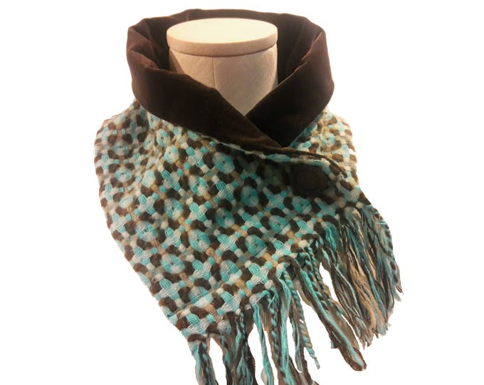 Teal and Brown Neck Warmer, Velvet Lined, Teal Neck Wrap, Beautiful Scarf Alternative, Lined Neck Warmer, Eco Friendly Fashion