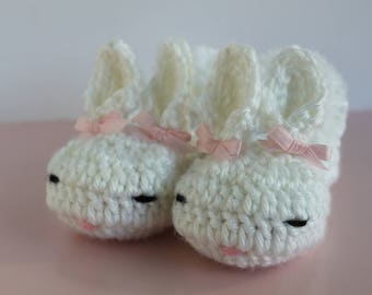 Easter Bunny Slippers, Baby Bunny Slippers, 0-6 Months, Baby Bunny Booties, Baby Bunny Shoes, Easter Gift