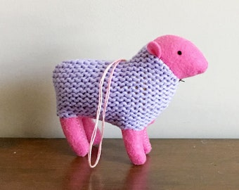 Pastel Sheep Ornament - eco-friendly knitted ornament, plush miniature, stuffed animal